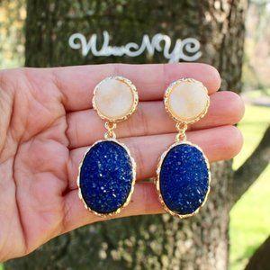 Anthropologie Druzy Blue Teardrop Dangle Earrings
